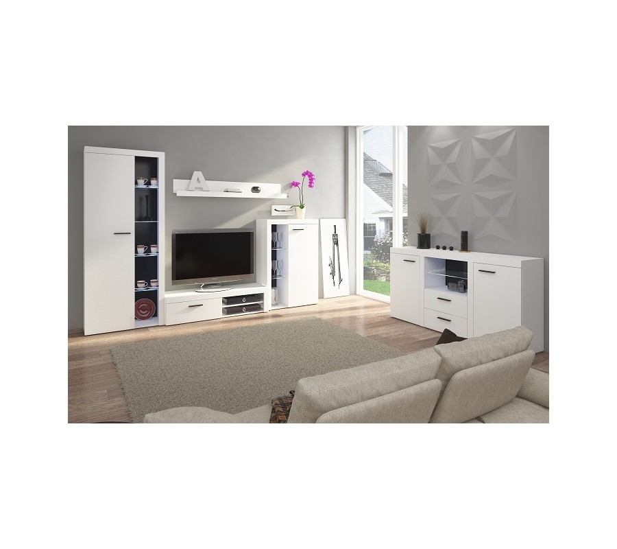 moderne schrankwand karina wohnwand wohnzimmer farbauswahl ebay. Black Bedroom Furniture Sets. Home Design Ideas