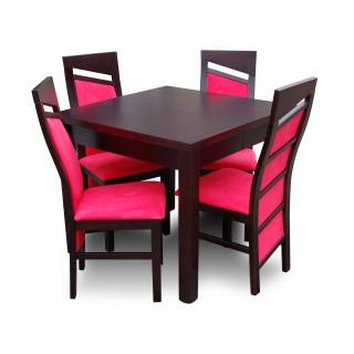 Stół rozkładany z 4 krzesłami drewno bukowe