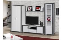 System Grey aranżacja 01 biały zestaw mebli systemowych do salonu