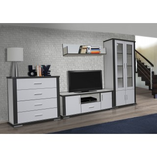 System Grey aranżacja 02 biały zestaw mebli systemowych do salonu