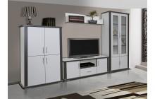 System Grey aranżacja 04 biały zestaw mebli systemowych do salonu