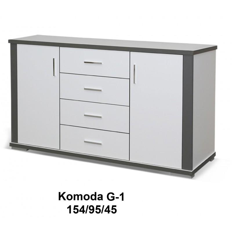 Komoda Grey 96 / 154 / 45 w białym matowym kolorze