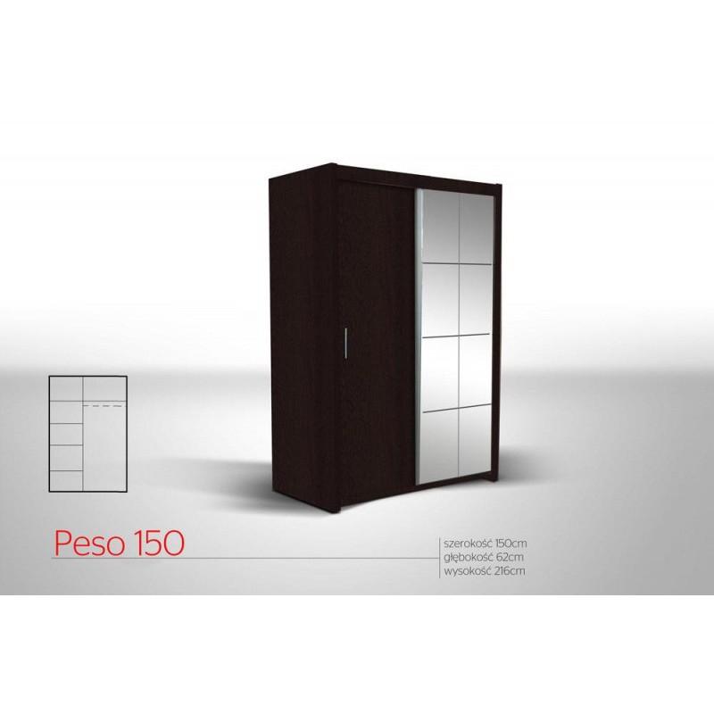 Szafa PESO 150 przesuwna z lustrem i półkami