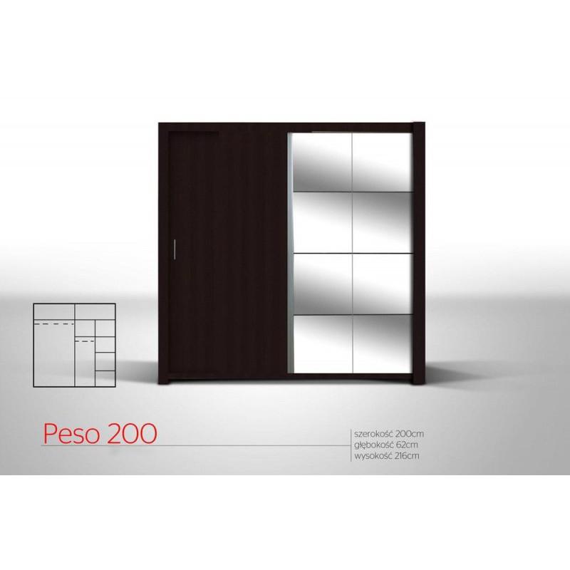 Szafa PESO 200 bardzo pojemna z półkami i drążkiem