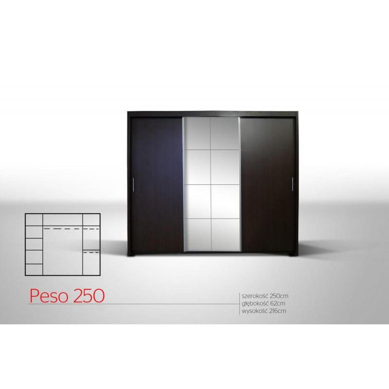 Szafa PESO 250 duża przesuwna szafa z 3 drążkami