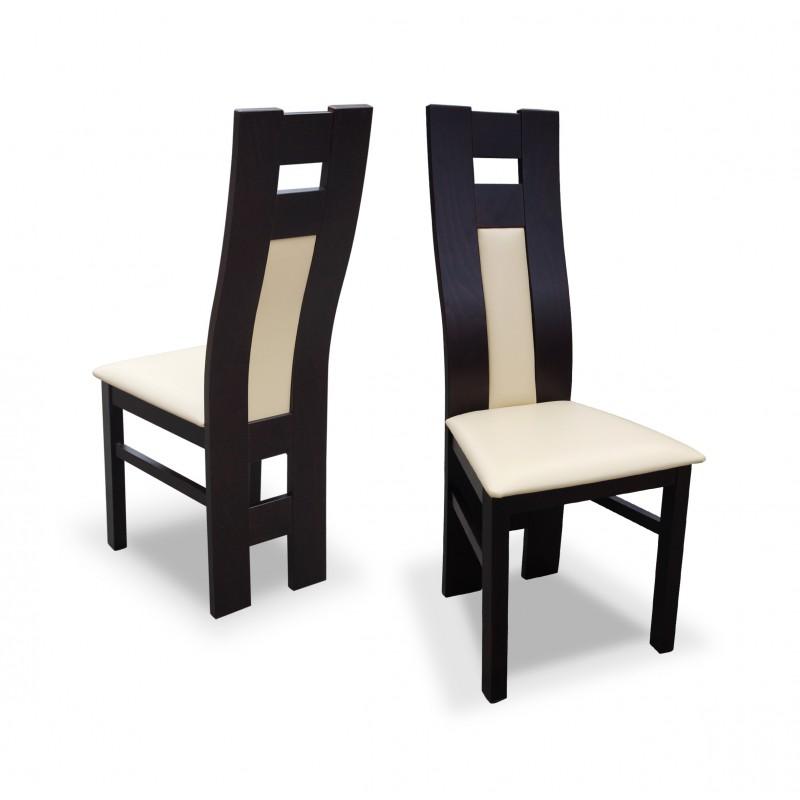 Krzesło RK-41 drewniane buk tapicerowane z białym obiciem