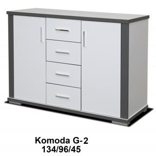 Komoda Grey 96 / 134 / 45 w białym matowym kolorze
