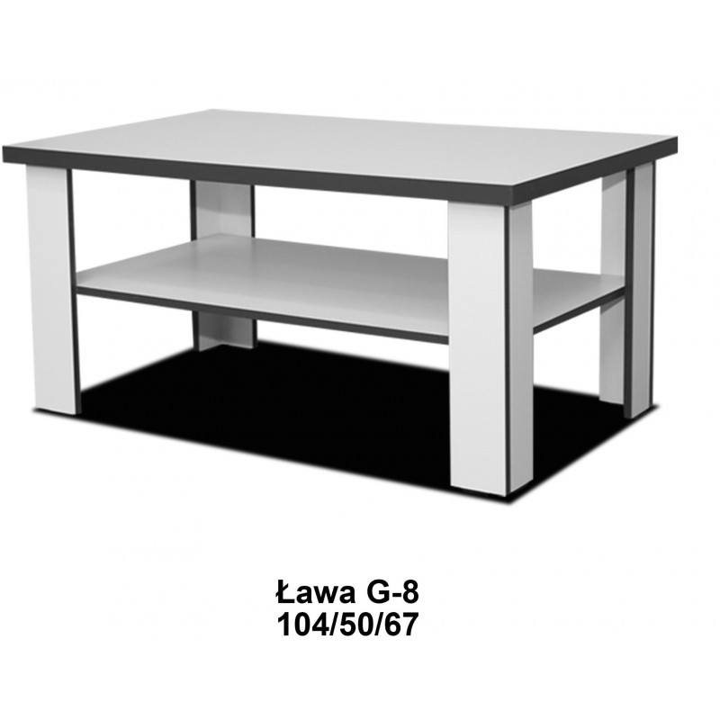 Ława Grey 50/104/67 z płyty laminowanej w białym kolorze