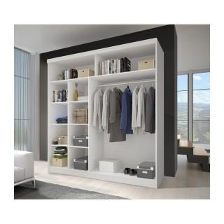 Szafa TORINO z dużym lustrem półkami i drążkiem