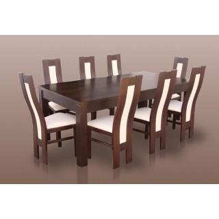 Osiem krzeseł i  stół rozkładany w zestawie